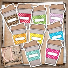 So cute - printable coffee cups. Could use these in the classroom, or to put coffee giftcards in as gifts