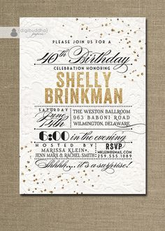 Lace Gold Glitter Birthday Invitation Modern White Lace Shabby Chic Typography Poster 40th 50th Printable Digital or Printed - Shelly Style
