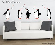 Singing Penguins Wall Decal - Modern Penguin Art Stickers by DecalLoft on Etsy