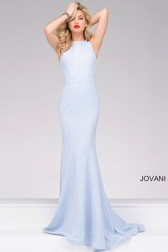 Light blue floor length form fitting sleeveless prom dress features high neckline an an open criss-cross back, also available in red.