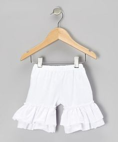 Take a look at this White Ruffle Shorts - Infant, Toddler & Girls by Pixiedust Pretties on #zulily today!