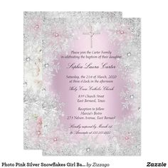 Shop Photo Pink Silver Snowflakes Girl Baptism Cross Invitation created by Zizzago.