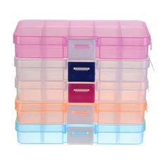 10 Slots Plastic Organizer Beads Craft Jewelry Storage Box Adjustable Case