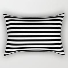Modern Black White Stripes Monochrome Pattern Rectangular Pillow by Girly Road | Society6