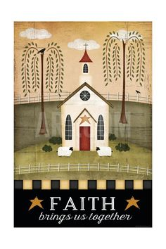Art Print: Primitive Faith by Jennifer Pugh : Primitive Homes, Primitive Folk Art, Primitive Crafts, Country Primitive, Primitive Embroidery, Primitive Bedroom, Primitive Antiques, Wood Crafts, Country Art
