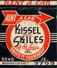https://flic.kr/p/4an3u | Kissel Skiles rent-a-car | Fair warning. I aquired over 100 WW II-era matchbook covers today, and you're about to see this photostream inundated with the best of them. And when I'm done with that, I may begin scanning in some of my dad's extensive matchbook collection.