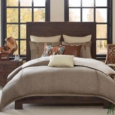 Hampton Hill Roaring River Queen Size Bed Comforter Duvet Set Bed In A Bag - Taupe , Jacquard – 8 Piece Bedding Sets – Ultra Soft Microfiber Bedroom Comforters * See this great product. (This is an affiliate link) Comforters, Fall Bedding, Comforter Sets, Bedding Collections, Clean Bed, Bed, Beige Bed Linen, Modern Bed, Bedding Sets