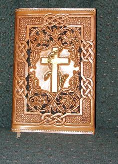 "My husband said one day to a friend ""I always carry my Cowboy Bible with me"" Bible Cover made by B & J Saddle Company Leather Carving, Leather Art, Sewing Leather, Leather Books, Tandy Leather, Leather Bible Cover, Leather Book Covers, Leather Tooling Patterns, Leather Wallet Pattern"