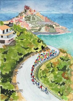 Original watercolor painting by Rachel Petruccillo of the 100th Giro d'Italia on the island of Sardinia.
