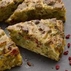 Yotam Ottolenghi's Aubergine and barberry frittata. Substitute lime juice for the barberries as he describes.