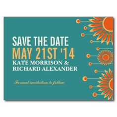 Summer Sunflower Floral Save The Date Postcard