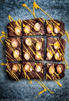 Totally addictive Creme Egg Brownies - gooey, chocolatey little pieces of pure indulgence perfect as Easter treats.
