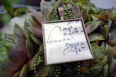 Noten Sonata quadratische vintage Medaillon, Kette von Buy My Baby auf DaWanda.com