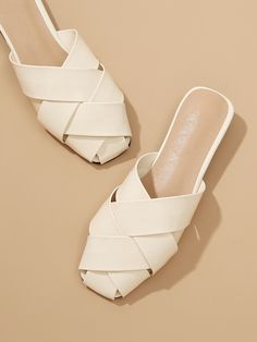 SHEIN offers Criss Cross Mule Flats & more to fit your fashionable needs. Mules Shoes Flat, Mule Sandals, Sandals Outfit, Shoes Sandals, Flat Sandals, Chanel Shoes Flats, Leather Flats, Sock Shoes, Criss Cross