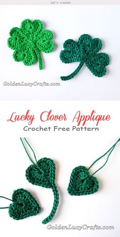 Lucky Clover Leaf Applique Crochet Free Pattern - - Lucky Clover Leaf Appliqué Crochet is a nice handmade accessory to celebrate St Patrick's Day or to be a simple decoration at your home. Very easy to make. Crochet Applique Patterns Free, Crochet Motifs, Crochet Flower Patterns, Crochet Ideas, Crochet Appliques, Pattern Flower, Crochet Leaf Free Pattern, Crochet Flower Hat, Crochet Leaves