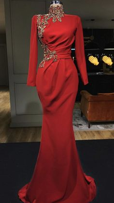Embellished Red Mermaid Evening Dress / Evening Gown with High Neckline, Long Sleeves and a small Train. Dress by Valdrin Sahiti Most Beautiful Dresses, Elegant Dresses, Sexy Dresses, Dresses With Sleeves, Full Sleeves, Dresses Uk, Ball Dresses, Hijab Dress Party, Party Gowns