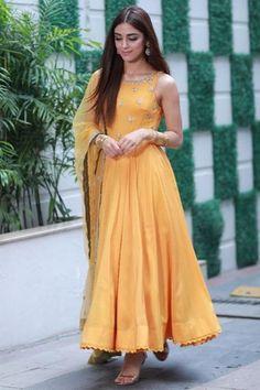 Buy Maya Ali Georgette Anarkali Suit In Mustard Yellow Color - Salwar Kameez for Women from Andaaz Fashion at Best Prices. Silk Anarkali Suits, Anarkali Dress, Beautiful Pakistani Dresses, Indian Dresses, Elegant Saree, Pakistani Outfits, Indian Outfits, Indian Clothes, Ethnic Clothes