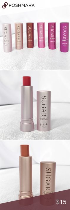 Fresh Sugar Lip TreatmentYour Choice New Fresh Sugar Lip Treatment SPF15 that moisturizes, protects, and smooths lips in clear and sheer or buildable color.  0.07oz each. Your choice of the following shades: • Rose • Honey • Untinted • Tulip • Poppy • Berry Sephora Makeup Lip Balm & Gloss