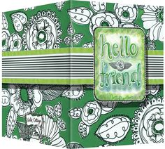 Hello friend card with a floral kelly green background. Blank inside. Available wholesale or retail:  http://www.violetcottage.com/thinking-of-you/31-hello-friend-card-blank-inside-green-white-flowers.html