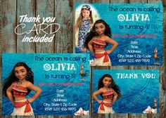 Moana Invitation, Disney Moana Birthday party Invitation via PapelPintadoDesigns