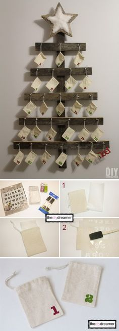 ideas Inc this Wall Mounted Advent Calendar. It is fun and simple to build this wall mounted advent calendar for your family. It is perfect for the rustic Christmas decoration! Christmas Countdown Calendar, Diy Advent Calendar, Calendar Ideas, Advent Calendars, Rustic Christmas, Winter Christmas, Christmas Time, Christmas Christmas, Christmas Projects