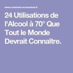 24 Utilisations de l'Alcool à 70° Que Tout le Monde Devrait Connaître.
