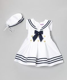 Love this White & Navy Stripe Nautical Dress & Beret - Infant & Toddler by Angels New York on So Adorable.wish they carried it in Jasira's size. (Memories of my schoolgirl uniform - I never thought I'd be fond of it. Toddler Dress, Toddler Outfits, Baby Dress, Infant Toddler, Little Girl Fashion, Kids Fashion, Little Girl Dresses, Girls Dresses, Nautical Dress