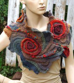 Crochet Scarf Woman winter fashion Gift Crochet button scarf Schadows green orange brown Woman's Shawl Cape Neck Warmer Freeform crochet