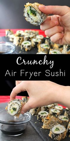 Guys I am crazy for these delicious Air Fryer Sushi Rolls! Theyre crunchy fil Guys I am crazy for these delicious Air Fryer Sushi Rolls! Theyre crunchy filling and so so fun to make! Source by glueandglitter Sushi Roll Recipes, Air Fry Recipes, Air Fryer Dinner Recipes, Vegan Recipes Easy, Asian Recipes, Vegetarian Recipes, Recipes Dinner, Vegan Sushi Rolls, Cooked Sushi Rolls