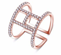Exagerados Aneis/Rings Silver/Rose Gold Color Micro Inlay 0.01ct Created Diamond