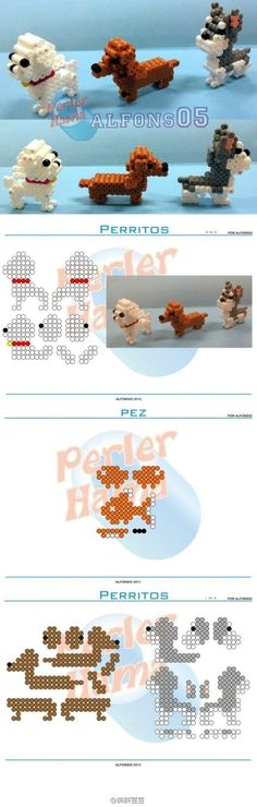 3D Dogs Perler Bead Pattern Perler Bead Designs, Perler Bead Templates, Hama Beads Design, Diy Perler Beads, Perler Bead Art, Melty Bead Patterns, Pearler Bead Patterns, Perler Patterns, Beading Patterns