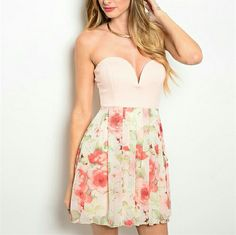 Pink Strapless Shirt Dress With Flowers