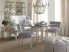 The new 1663 Sylvia Dining Chair shown with the Octagonal Dining Table and 1830-10 Loveseat.