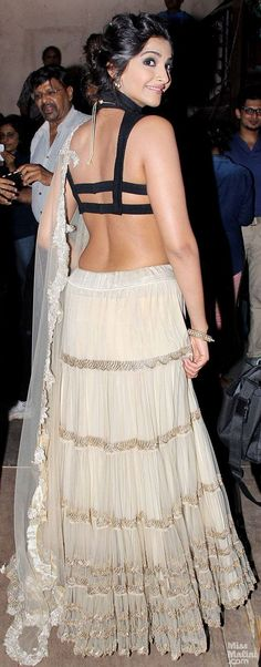Actor and Fashion Diva Sonam Kapoor Lehenga with modern strappy blouse, via @topupyourtrip
