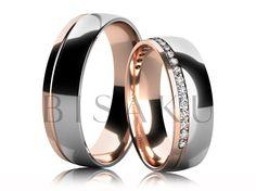 4582 Elegantní snubní prsteny v kombinaci bílého a červeného zlata v lesklém provedení. Dámský prsten je přibližně do poloviny zdoben kameny. #bisaku #wedding #rings #engagement #svatba #snubni  #prsteny