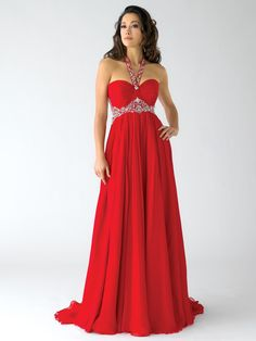 Size 14 Red In StockGoddess silk chiffon pageant dress Crown Collection 6012. The beauty of this dress will perplex the jury making their decision at a first glance. A halter beaded strap erupts from the sweetheart ruched neckline embellished at the waist by a jeweled detail resembling the luxury of a goddess of ancient days. A flowing skirt waves to the floor length and at back a sweep train seals up the dress. A cocktail ring will be a good detail. Available in White, Ivory, Gold, Black…