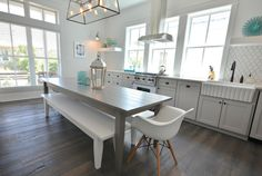 Lollygag Beach House - kitchens - gray shaker cabinets, gray kitchen cabinets, gray kitchen, gray and white kitchen, gray dining table, whit...