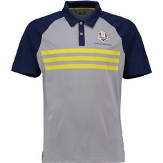 The 2018 Ryder Cup adidas Climacool 3-Stripes Competition Polo - Dark Blue/Vivid Yellow/Mid Grey