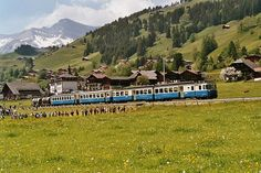 MOB ABDe 4004 with AB one second class coach and two cement wagons passing near Rougemont, Vaud Swiss Railways, Electric Locomotive, By Train, Civil Engineering, Switzerland, Old Things, Around The Worlds, Europe, Regional