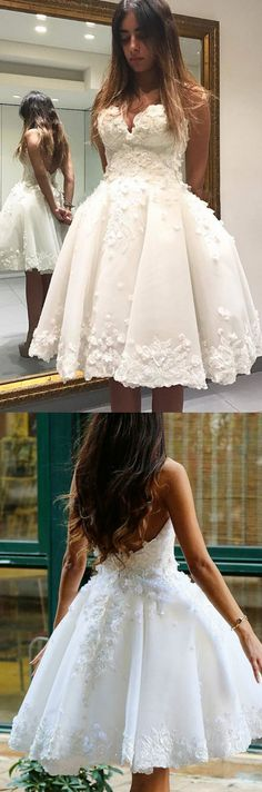 Short Prom Dresses, White Prom Dresses, Prom Dresses Short, Backless Prom Dresses, Short White Prom Dresses, White Short Prom Dresses, Short Homecoming Dresses, Prom Dresses White, White Party Dresses, Short White Dresses, White Homecoming Dresses, Backless Homecoming Dresses, Applique Homecoming Dresses, Sweetheart Party Dresses