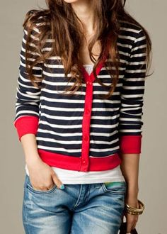 striped cardi & jeans.... like the nail polish, however I might do a big teal ring versus the nail color...