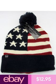 USA Flag Cuffed Pom Knit Beanie Stars Stripes Old Glory Cuff Skull Cap Hat  NWT b913a2ad4d7d