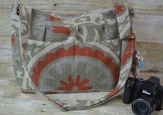 Camera Bag / Khaki / Orange / rustic vintage style Linen / Digital Camera Bag Dslr / womens camera purse / Padded / by Darby Mack