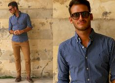 Blue plaid. #men #mensstyle