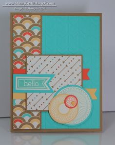Stamps: Perfect Pennants; Spiral Spins Dies, Punches & Embossing Folders: Banners Framelits Dies; Circles Collection Framelits Dies; Hexagon Punch; 1-3/4″ Circle Punch; 1-1/4″ Circle Punch ; 1-3/8″ Circle Punch; 1/2″ Circle Punch; Arrows Embossing Folder Embellishments: Subtles Candy Dots Card Stock: Baked Brown Sugar; Coastal Cabana; Tangerine Tango; So Saffron; Very Vanilla; Retro Fresh DSP Ink: Coastal Cabana; Tangerine Tango; So Saffron; Baked Brown Sugar