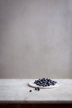 Handmade plate with blueberries