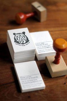 Stempel + simpel zwartwit kaartje = opvallende visitekaartje...or get Sweeps to do all your design work! http://www.sweeps.jobs