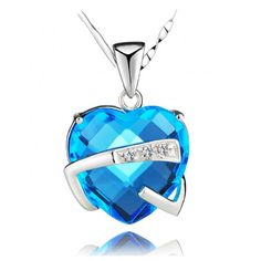 The Hugged Heart Blue Cubic Zirconia Pendant 925 Sterling Silver Necklace