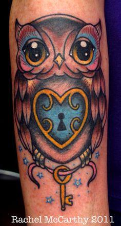 Lock Tattoo Heart Start And Key Owl Rachel Mccarthy Heart Lock Tattoo, Lock Key Tattoos, Buho Tattoo, I Tattoo, Wolf Tattoos, Body Art Tattoos, Tatoos, Bird Tattoos, Pretty Tattoos