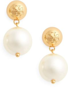 Tory Burch Logo Faux Pearl Drop Earrings Pearl Drop Earrings, Pearl Jewelry, Women's Earrings, Gold Jewelry, Jewellery, Jewelry Box, Jewelry Center, Earring Crafts, Simple Necklace